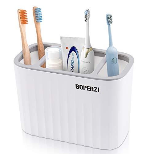 Boperzi Toothbrush Holder Toothpaste Storage 3 Slots,White Electric Toothbrush Organizer Razor Makeup Brushes Stand Set Anti Rust for Bathroom Counter Shower Kitchen