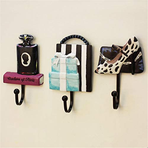 Chirpa 3PCS Resin Lady Shoes Perfume Bottle Bag Patterned Clothes Hat Hanger Wall Mounted ()