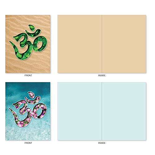 M3971 Om Blooms: 10 Assorted Blank All-Occasion Note Cards Feature a Universal Symbol for Peace and Serenity, w/White Envelopes. Photo #2