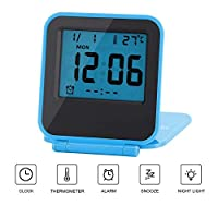 Huasen Mini Small Digital Travel Alarm Clocks Battery Operated with Light Folding,Calendar and Temperature,Snooze and Nightlight,Folds into One Compact Unit for Travel,Portable,Pocket Size (Blue)
