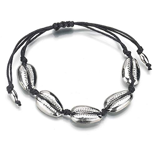 TOMLEE Handmade Natural Cowrie Beads Shell Woven Chain Bracelet Adjustable Knot Boho Summer Bracelets Friendship Jewelry (Silver)