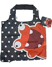 Chilino Freak Opvouwbare herbruikbare tas, milieuvriendelijk, hoge draagkracht en inhoud, rood, zwart, 47 x 41 cm