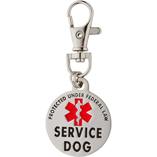 Dog Tag Service - K9King Service Dog Tag Double Sided Federal Protection with Red Medical Alert Symbol Pet ID Tags 1.25 inch. Easily Attach to Collar Harness Vest Dog Service Tag