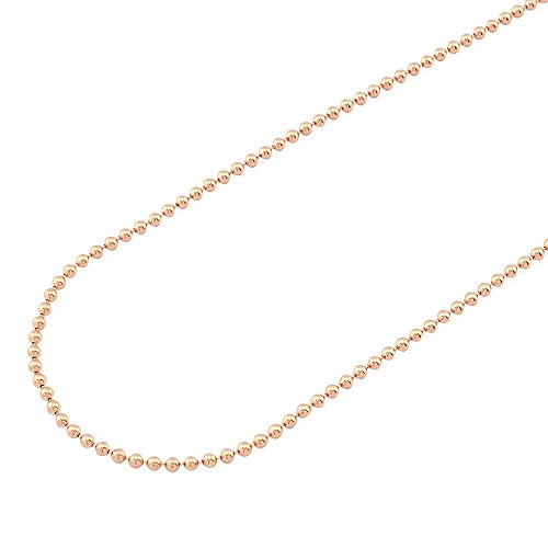 14k Fully Solid Rose Gold 2mm Polished Ball Beaded Chain Necklace 20-28, (14k Gold Beaded Necklace)