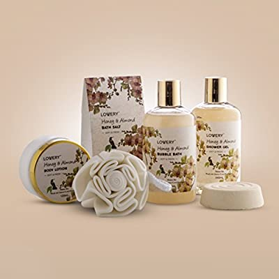 Valentine's Day Gifts - Home Spa Gift Basket - Honey & Almond Scent - Luxury Bath & Body Set For Women/Men-Contains Shower Gel, Bubble Bath, Lotion, Bath Salt, Bath Bomb, Puff & Handmade Weaved Basket