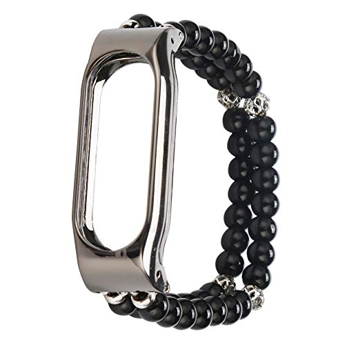 Fancy Rope Bracelet (JP-DPP9 Pearl Agate Bracelet Jewelry Replacement Wristband Strap for Xiaomi Mi Band 2,Fit 5.1-6.5Inch Wrists (Black))