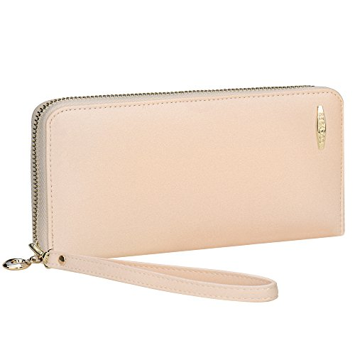 - Women Wallet, COCASES RFID Blocking PU Leather Zip Purse Large Capacity Organizer Cash Cards Coin Pocket Wristlet (Beige)