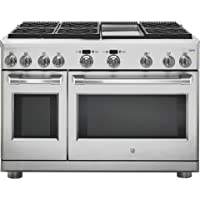 GE Cafe C2Y486SDLSS 48 Inch Freestanding Dual Fuel Range with 6 Burners, Sealed Cooktop, Double Ovens, 5.75 cu. ft. Primary Oven Capacity, in Stainless Steel