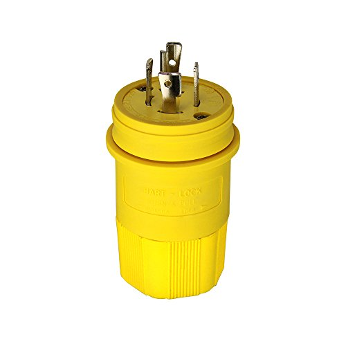 Eaton L1620PW 20 Amp 480V Hart-Lock Watertight Plug, Yellow