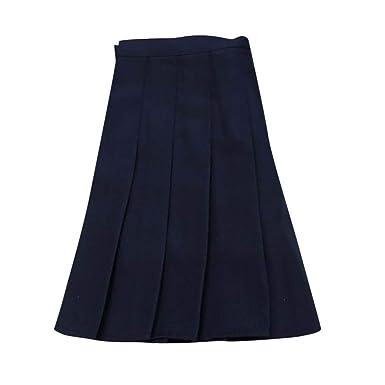 Holywin - Falda para Mujer Plisada Informal Azul Marino XXL ...