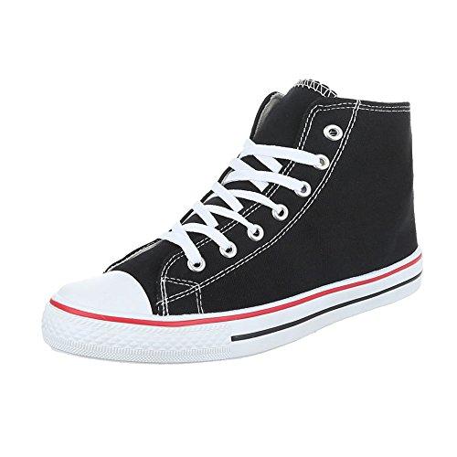 Ital-Design Sneakers High Damenschuhe Schnürsenkel Freizeitschuhe Schwarz SW15277