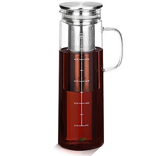 BTT - Cold Brew Coffee Maker, 1.5 Quart, Iced Coffee Maker, Iced Coffee Pitcher, Glass Carafe with lid, Iced Tea Maker, Cold Tea Brewing, Airtight Pitcher, Coffee Lover Gift, Tea Maker With Infuser