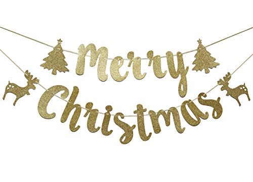 - Merry Christmas Glitter Gold Burlap, Reindeer Banner, Christmas Party Favors (Gold)