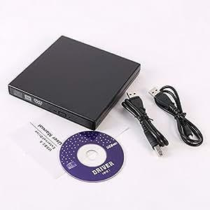 Supplylink CD DVD Drive USB 2.0 Ultra Slim Portable External CD-RW and DVD-RW Drive/Writer/Rewriter/Burner for Laptops Desktops and Notebooks Black