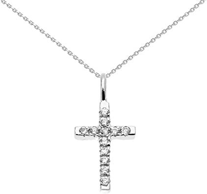 Dainty 10k Rose Gold Solitaire Diamond Infinity Cross Charm Pendant
