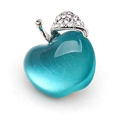 Broche solapa pin manzana azul cristal y rhinstone para ...