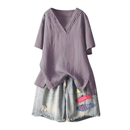 Cotton Linen Tops, QIQIU Womens 5 Colors M- 5XL Fashion V Neck Loose Short Sleeve T-Shirt Blouse Casual Shirt ()
