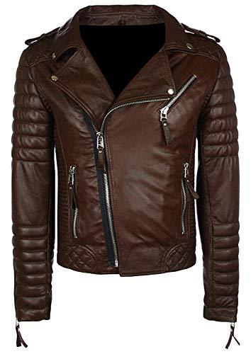 T&I Texas Spectacular Quilted Dark Brown Leather Biker Jacket for Men