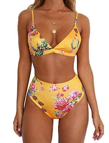 6deb435d2ee12 Orz.orange 4 Styles Women's Strap Floral Print Swimwear V-Neck Top High  Waist