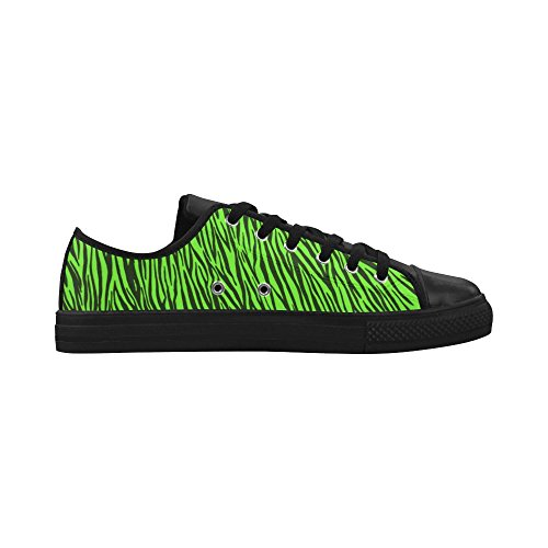 D-Story Custom Green Zebra Stripes Aquila Action Leather Womens Shoes (Model 028) AAzTeXtG