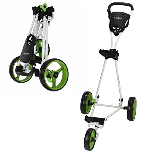 Caddymatic Golf Continental 3 Wheel Folding Golf Push/Pull Cart White/Green