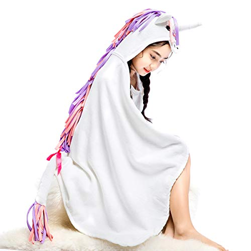Famfun Baby Unicorn Hooded Beach Towel - Toddler/Kids Bath Towels - Ultra Soft, Super Absorbent Large 47
