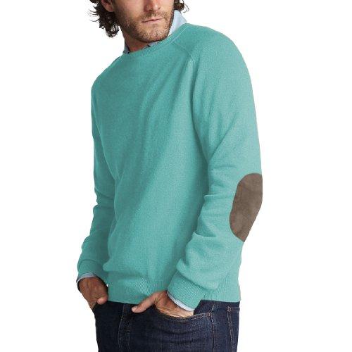 Parisbonbon Men's 100% Cashmere Elbow Pad Sweater Color A...