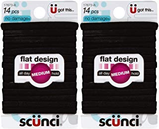 (Scunci No-Damage Black Hair Ties   Flat Design All Day Hold 14-Pcs per Pack (2-Packs))