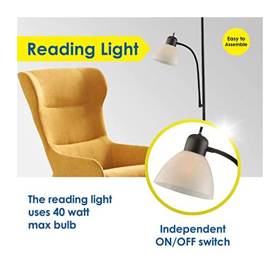 "Adjustable Floor Lamp with Reading Light by Light Accents - Susan Modern Standing Lamp for Living Room/Office Lamp 72"" Tall - 150-watt with Side Reading Light - Stand Up Tall Light - Corner Lamp (B - Incandescent torchiere floor lamp for small- to medium-size rooms. Great as a dorm room floor lamp, floor lamps for bedrooms, floor lamp for living rooms. Sleek Black-painted finish with a gently curved white-frosted plastic shade Fully Adjustable Side Reading light, Use as a kids floor lamp floor lamps for bedrooms - living-room-decor, living-room, floor-lamps - 41oZzUb5syL. SS570  -"