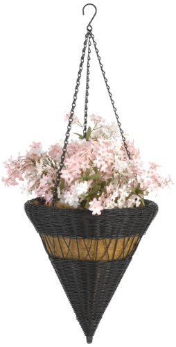 DMC Products 14-Inch Cone Resin Wicker Hanging Basket with Chain Hanger, Black