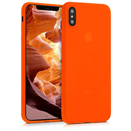 - kwmobile TPU Silicone Case for Apple iPhone Xs Max - Soft Flexible Shock Absorbent Protective Phone Cover - Neon Orange