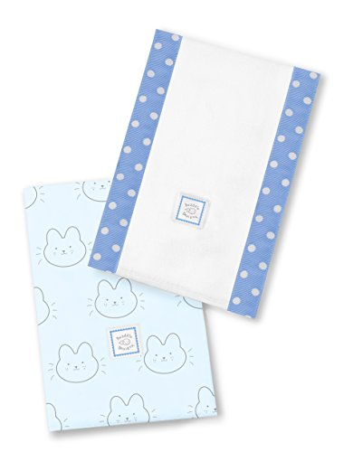 SwaddleDesigns Baby Burpies, Set of 2 Cotton Burp Cloths, Bonjour Bunnie on Blue by SwaddleDesigns