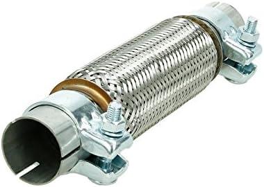 ECD Germany Universal Flexrohr Edelstahl Interlock 55 x 280 mm mit 2 Schellen Montage Ohne Schwei/ßen Auspuff-Montagepaste 60g Paste Flexst/ück Wellrohr Hosenrohr Flexibles Auspuff Rohr