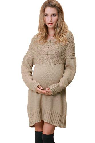 Sweet Mommy Organic Cotton 100% Knit Nursing and Maternity Dress (M, Beige)
