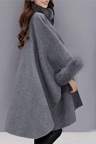 in in in Autunno Taglie Forti Cappotto Casuale P Invernali Invernali Invernali Invernali Donna Poncho Collo HX Sciolto Grey fashion PwRRq1
