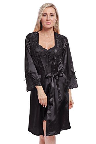 BellisMira Women's Long Satin Robe Bridal Kimono Lace Trim Nightgown Soft Pajamas Dressing Gown Sleepwear Black,L (Kimono Dress Charmeuse)