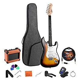 ADM Electric Guitar Beginner Kit 39 Inch Full Size Sunburst, Starter Package with Amplifier, Bag, Strap, String, Tuner…