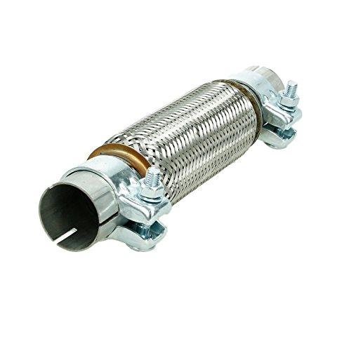 ECD Germany Flexrohr - Universal - Edelstahl - Interlock - 45 x 200 mm - mit 2 Schellen - Montage Ohne Schweißen - Flexstück - Wellrohr - Hosenrohr - Flexibles Rohr
