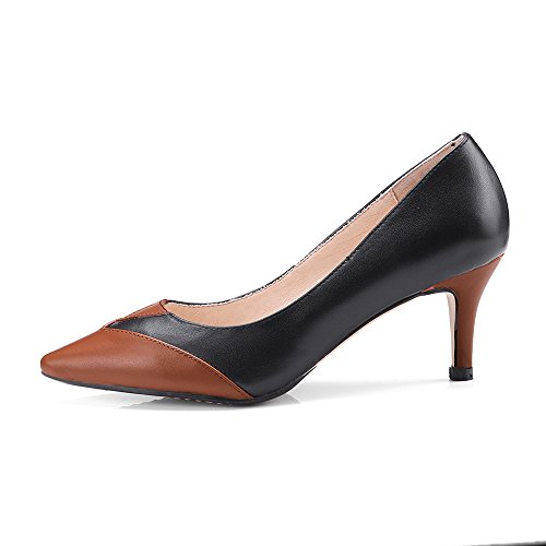Mid Nine on Gracrful Handmade Pointed Genuine Heel Stiletto Toe Pumps Seven Black Slip Comfort Women's Leather YwxrzR7YPq