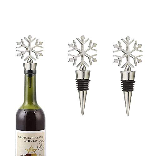 BGMAX Set of 3 Wine and Beverage Bottle Stoppers Toppers With Snowflake Design, Multi Stage Bottle Cork, Box-Packed, Perfect Christmas Holiday Gift