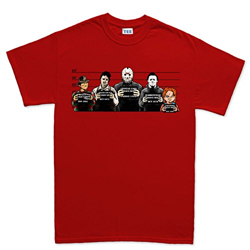 The Usual Horror Suspects Halloween T Shirt RED -