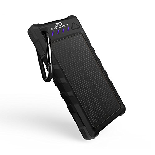 Gatcepot Solar Charge 8000mAh Phone Charger Power Bank External Backup Battery LED Light Dual USB Output Solar Panel DC5V/2.1A for iPhone 7,7Plus, iPad & Samsung Galaxy & More(Black) (8000 Power Bank compare prices)