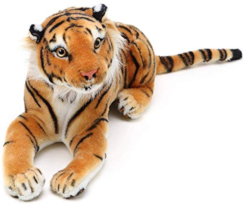YCZTXSJT Stuffed Toy Tiger -King of The Jungle . Kids' Birthdays Great Gift for Boys, Girls, Toddlers, Babies, Length 40CM, Yellow
