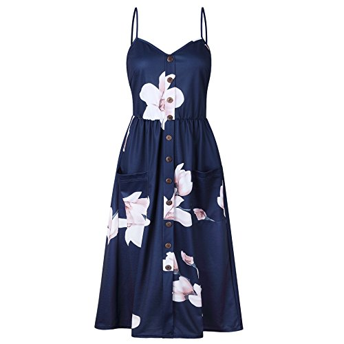 Printed Cute 0860navy Womens Button Nuofengkudu Down Midi Swing Bohemian Dress with Summer Strap Spaghetti Floral Pockets TxqUZwZdIE