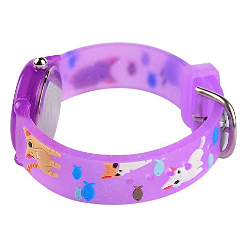 Toddler Kids Children Watch,3D Cute Cartoon Silicone Band Wristwatches Time Teacher Gifts Watches for Kids Girls Toddlers (Purple Cat) by Angels' (Image #5)