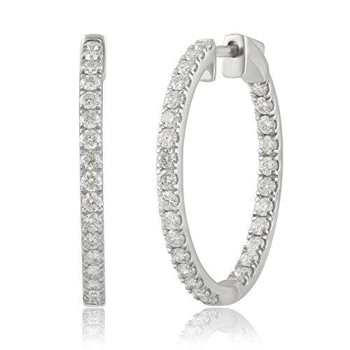 14K Gold Inside-Out Diamond Hoop Earring (1/4-2.00 Cttw, I-J Color, I2-I3 Clarity)