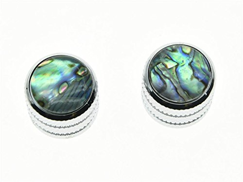 KAISH 2pcs Chrome Push on Fit Abalone Top Guitar Dome Knobs or Bass Knob for Tele Telecaster