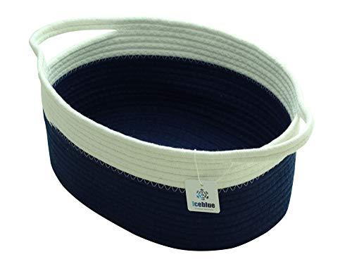 (ICEBLUE HD Blue Storage Basket 100% Natural Cotton Rope Storage Boxes Nursery Baby Diaper Caddy Makeup Organizer Large)