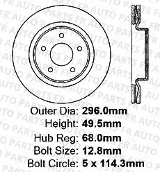 2 Cross-Drilled Disc Brake Rotors High-End 5lug Front Rotors