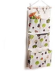 Over The Door Organizer, Waterproof Wall Hanging Storage Bag with 4 Pockets and 2 Hooks for Bedroom/Bathroom or Nursery (Cartoon)